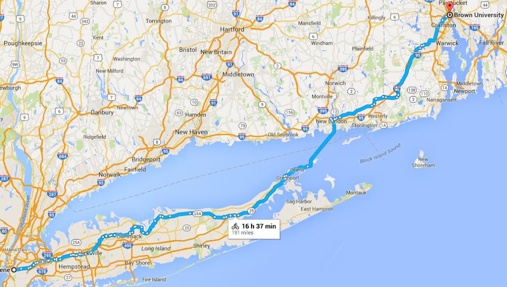 New York to Rhode Island